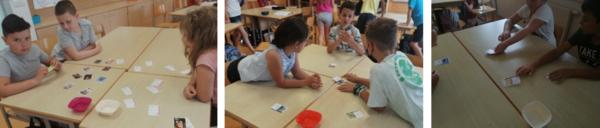 Na 1. sliki otroci iščejo pare kartic slika-besedilo, na 2. ustno opisujejo fotografije na karticah, na 3. sliki pa je prikazano veselje ob igraju raznolikih iger Slovenija